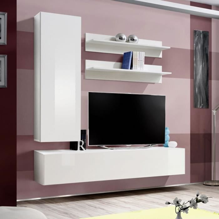 paris prix meuble tv mural design fly i 170cm blanc achat vente meuble tv paris prix. Black Bedroom Furniture Sets. Home Design Ideas