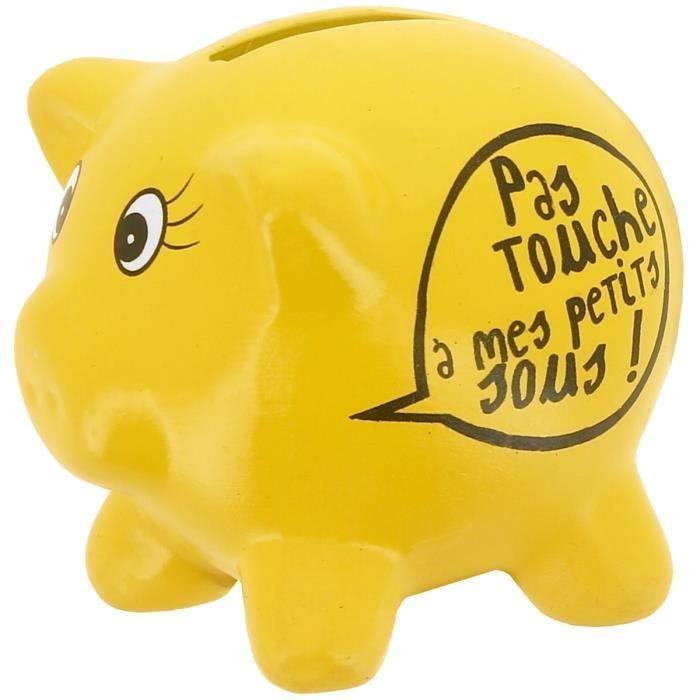 Promobo Tirelire en C/éramique Design Petit Cochon Mots Humour Mon Tr/ésor A Moi Prune