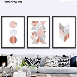 TABLEAU - TOILE Décor à la maison Salon Image Géométrique Rose Mar