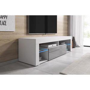 MEUBLE TV Meuble tv 140 cm blanc mat façade laquée gris + le