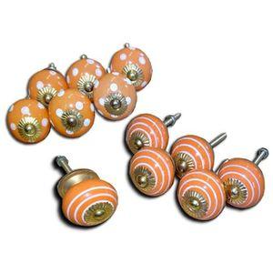 POIGNÉE - BOUTON MEUBLE Set de 12 boutons en porcelaine orange