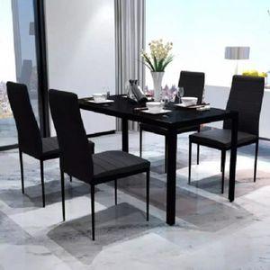TABLE À MANGER COMPLÈTE vidaXL Table à manger de 4 à 6 personnes + 4 chais