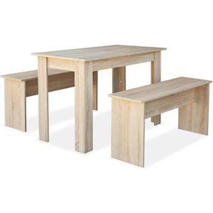 TABLE DE CUISINE  vidaXL Table de salle à manger et bancs 3 pcs Aggl