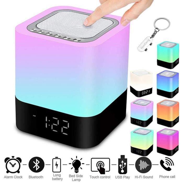 Enceinte Portable sans Fil Bluetooth Haut-Parleur avec Contrôle Tactile Multicolor Lampe de Chevet, Réveil, Lecteur MP3.