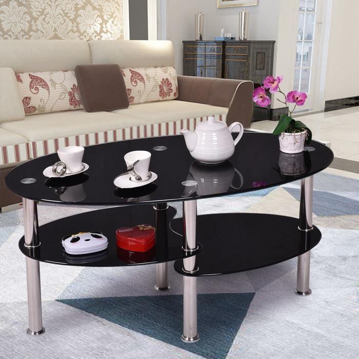 LAIZERE° Table basse noir en verre trempé oval