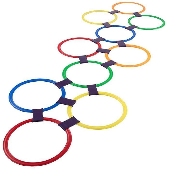 Décorations et accessoires de fête pour enfants Romote Hopscotch Ring Game Toys 10 Multicolores Anneaux en Plastique Et 192591