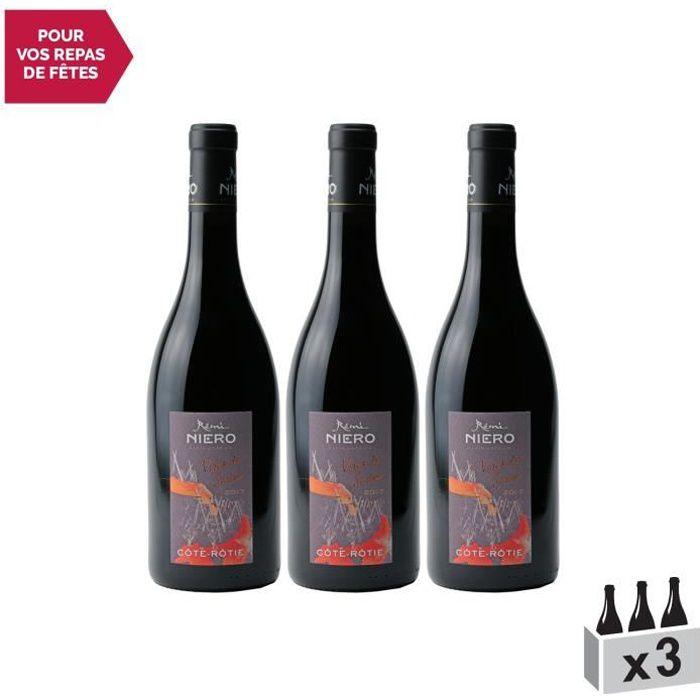 Côte Rôtie Vires de Serine Rouge 2017 - Lot de 3x75cl - Rémi Niero - Vin AOC Rouge de la Vallée du Rhône - Cépage Syrah