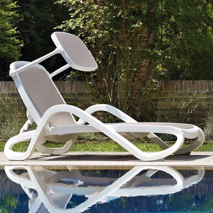 Chaise longue blanche et taupe DATURA Option 1
