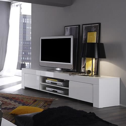 Meuble TV blanc laqué design PIETRA L 190 x P 50 x H 45 cm Blanc