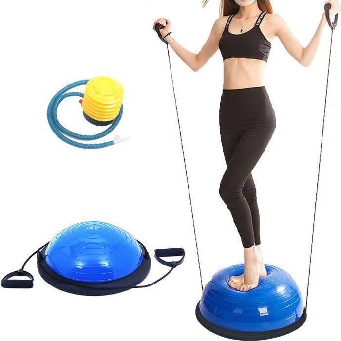 ISE Balance trainer, Demi-Ballon d'Entraînement Ø 46 cm,avec Câbles de Resistance et Pompe,pour Yoga, Gymnastique,Bleu
