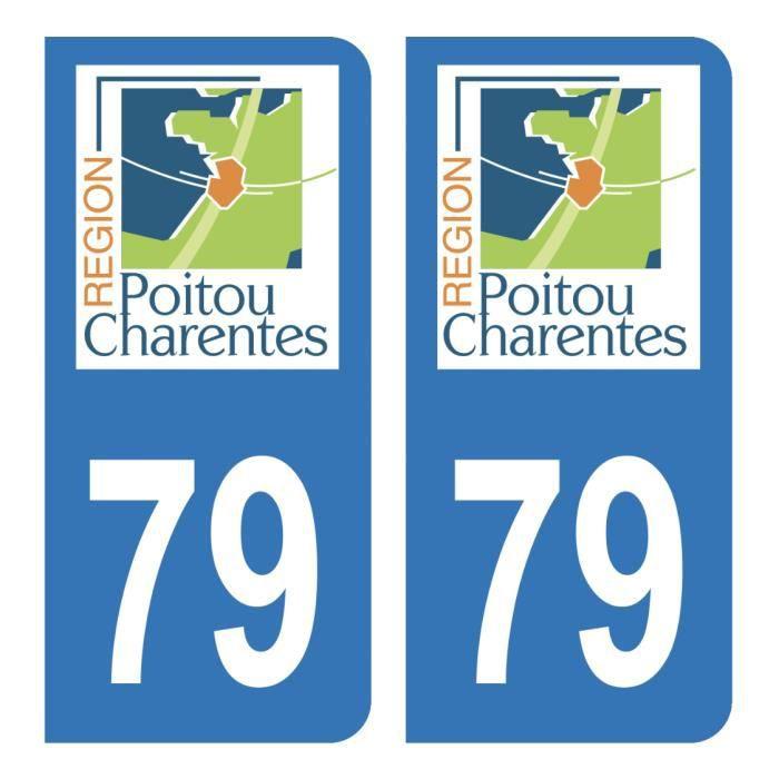 Autocollant Stickers plaque immatriculation auto Département 79 Deux-Sèvres Logo Ancienne Région Poitou Charentes