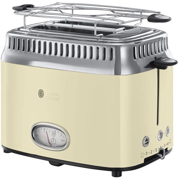 Bouilloire électrique Toaster Grille-Pain, 3 Fonctions, Température Ajustable, Réchauffe Viennoiserie, Design Vintage - Crème