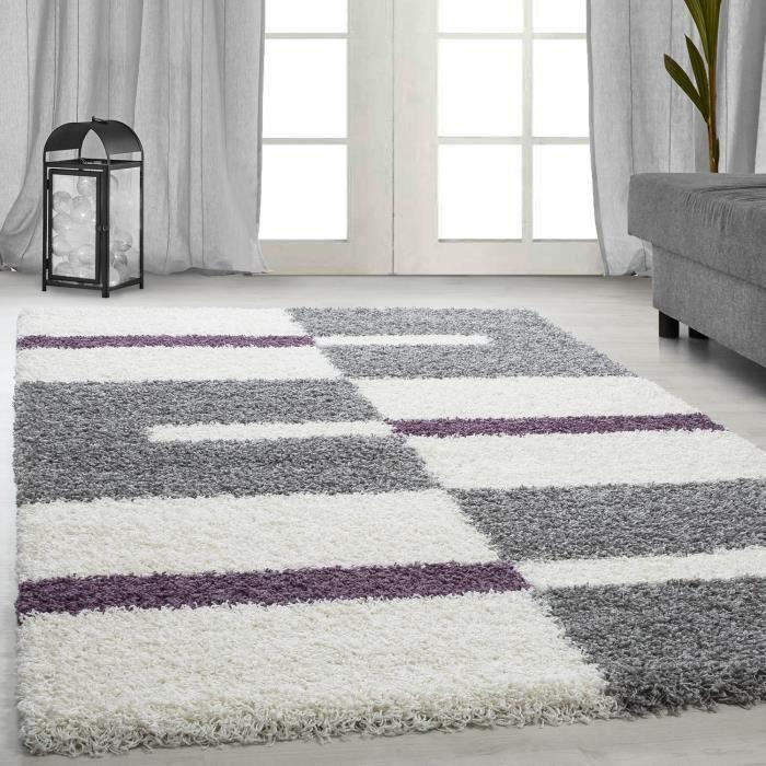 tapis Shaggy Shaggy gris rayé vert rouge tapis beige de salon [violet, 160x230 cm]