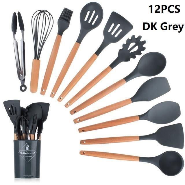 Lot Ustensiles,Ensemble d'ustensiles de cuisine boîte de rangement outils grattoir ustensiles de cuisine en Silicone - Type 4
