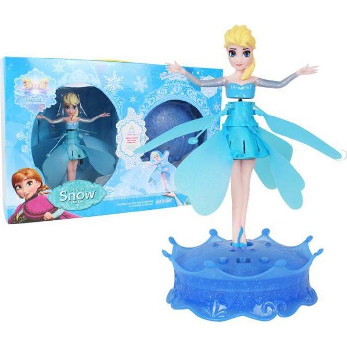 BRO Jouet radiocommande de LA REINE DES NEIGES Elsa FLYING FAIRY Fée Volante Lumineuse musique hélice capteur infrarouge-Jouet USB