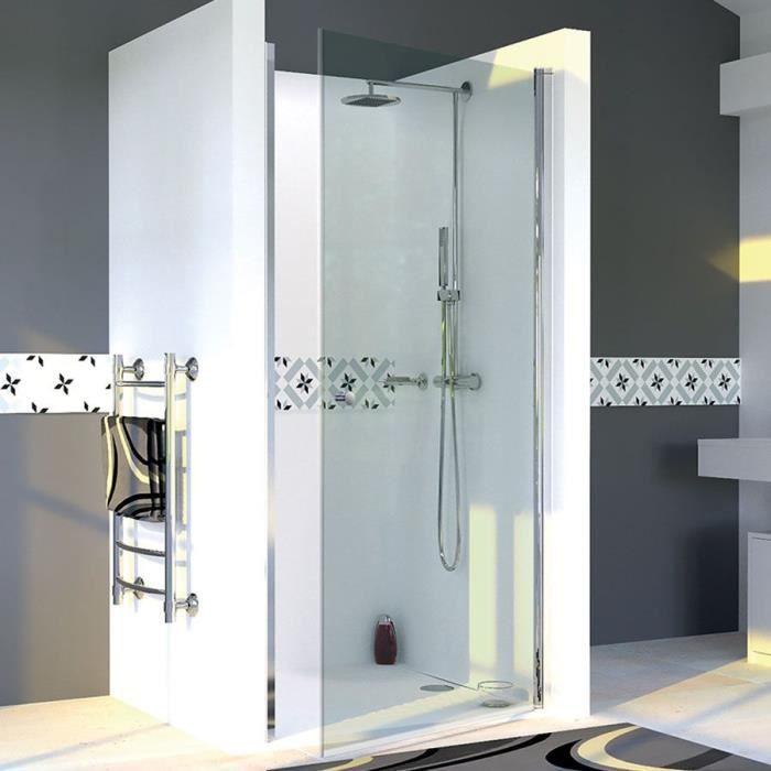 CREAZUR Porte de douche pivotante Dylane - 100 x 190 cm - Verre trempé 6 mm