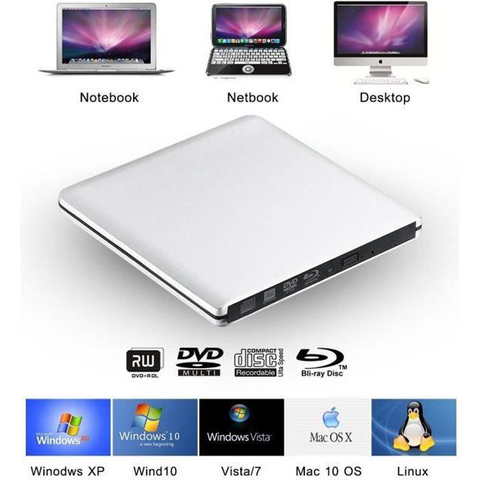 Lecteur/Graveur Blu-ray USB 3.0 Externe Portable Graveur Drive BD/DVD/CD, ODD/HDD Externe pour Apple MacBook, MacBook Pro