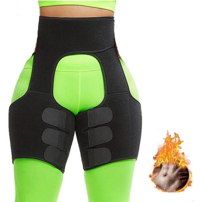 Femme Ceintures De Sudation 3 en 1 Butt Lifter Shaper Waist Trainer Belt Taille Haute, Body Shapewear Réglable Coupe-Cuisse Butt Lif
