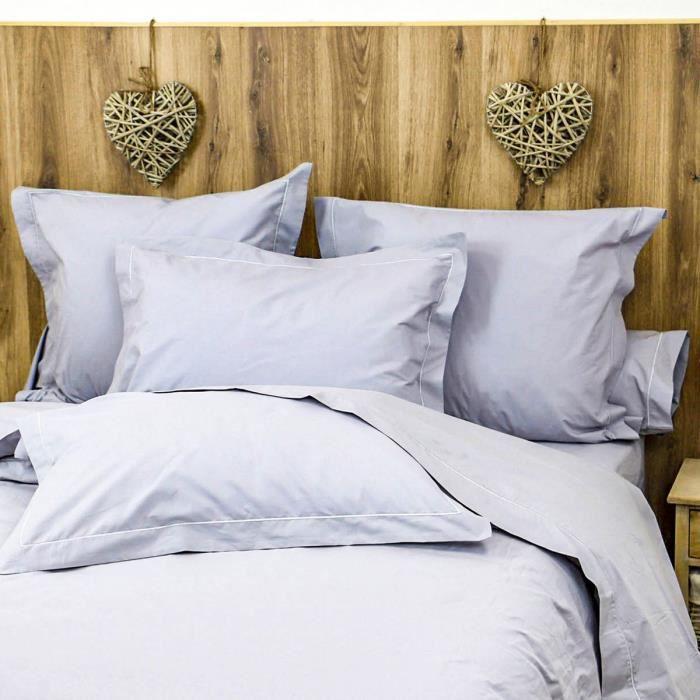 LINANDELLE - Parure Drap plat et taies en coton Percale 200 fils DESIREE - Gris clair - 180x290 cm
