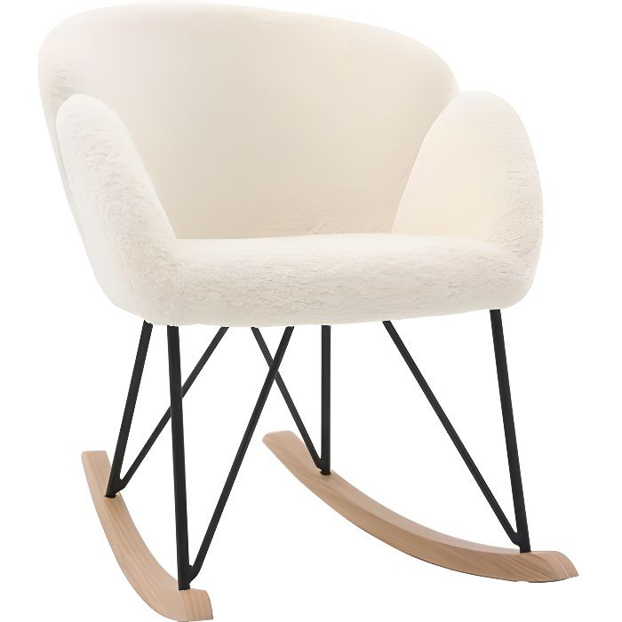 Miliboo & Stéphane Plaza - Rocking chair design tissu mouton blanc RHAPSODY