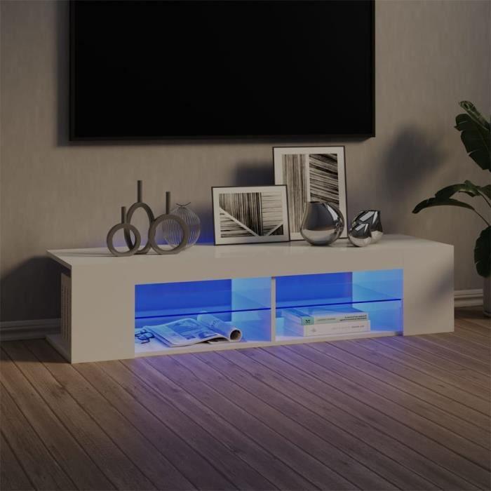5418lOVE® Meuble TV Vintage Design-Armoire TV avec lumières LED,Banc TV,Table Salon Blanc brillant 135x39x30 cm