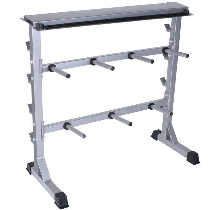 Physionics® Support pour Haltères - Charge Max. 300 kg, 98x95x48cm - Rack de Rangement pour Disques de Poids et Barres d'Haltères