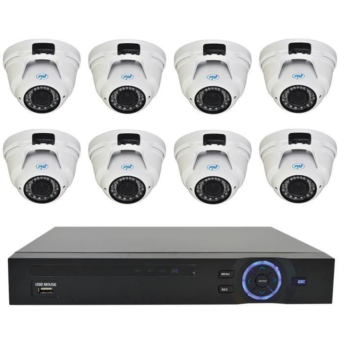 Kit de vidéosurveillance PNI House - Caméra NVR 16CH 1080P et 8 PNI IP2DOME 1080P varifocal