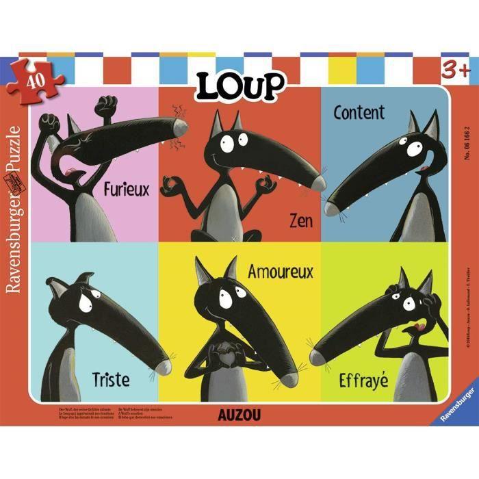 Ravensburger - Cadre apprivoisait Ses émotions 40 pièces, Puzzle, Casse Tete, Enfants, Garcon, Jouet Fille 4 Ans, Jeux, Loup, 400