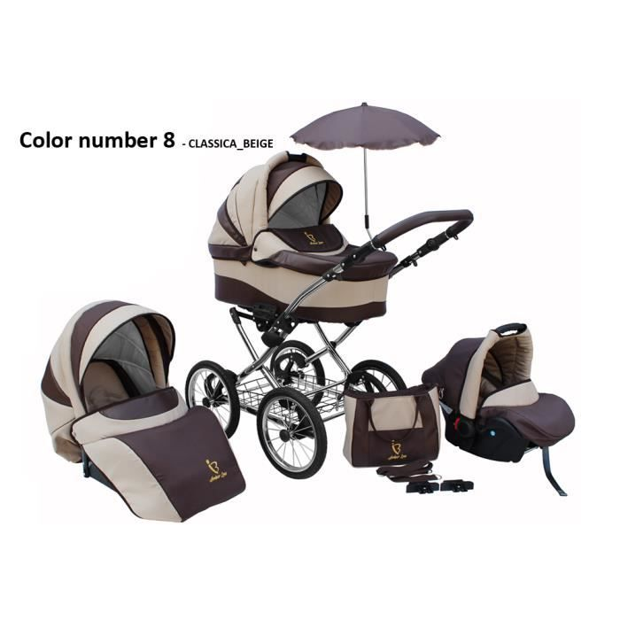 Poussette/Landau avec siège-auto 3en1 et avec accessoires & cadre en chrome et roues 14- gonflables bébé enfant Classica - Beige.