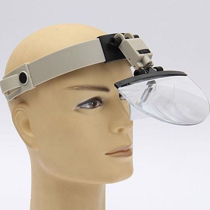 TEMPSA Casque Loupe Frontale lampe LED Pr Réparation Travail Précision Magnifier 4 Lens 2X 3.5X 4.5X 5.5X