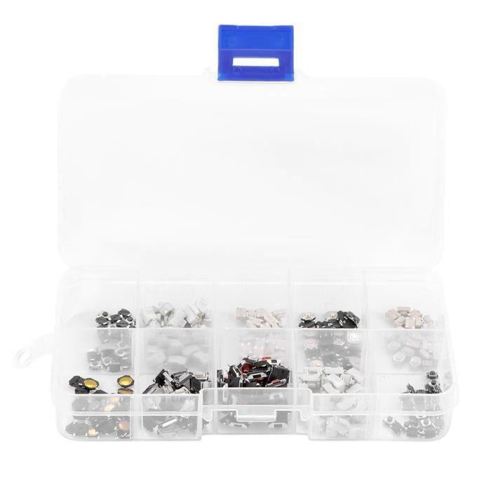 TACTILE BOUTON PUSH BOUTON SUR LE MICRO TACTS Moment Moment Assortiment Kit avec boîte en plastique 250pcs