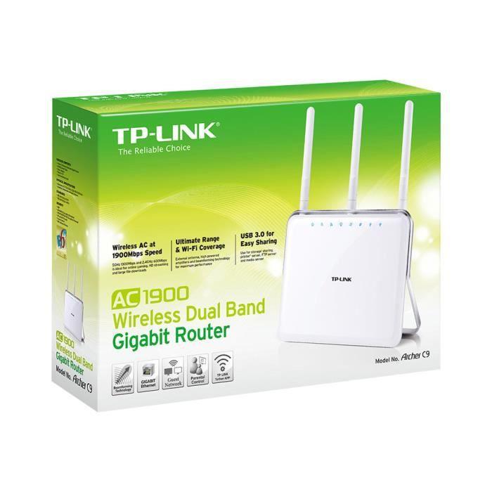 TP-LINK ARCHER C9 AC1900 Routeur sans fil commutateur 4 ports GigE 802.11a-b-g-n-ac Bi-bande