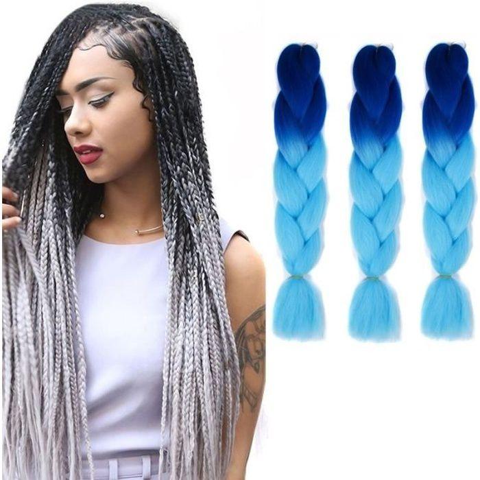 Extension cheveux Couleur Mode dégradé individuelle Braid Perruques Chemical Fiber Big Tresses Longueur: 60 cm bleu marine ciel