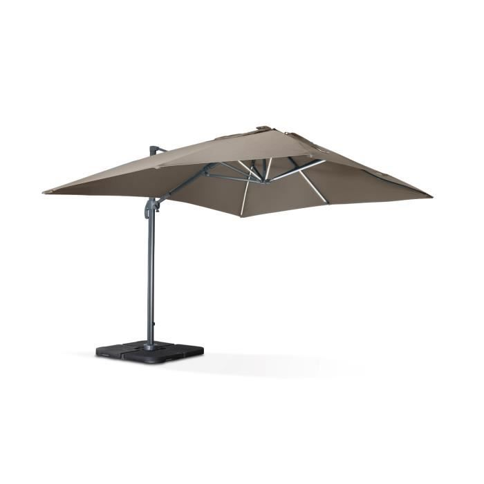 luce parasol d port 3x4m avec led taupe achat vente. Black Bedroom Furniture Sets. Home Design Ideas