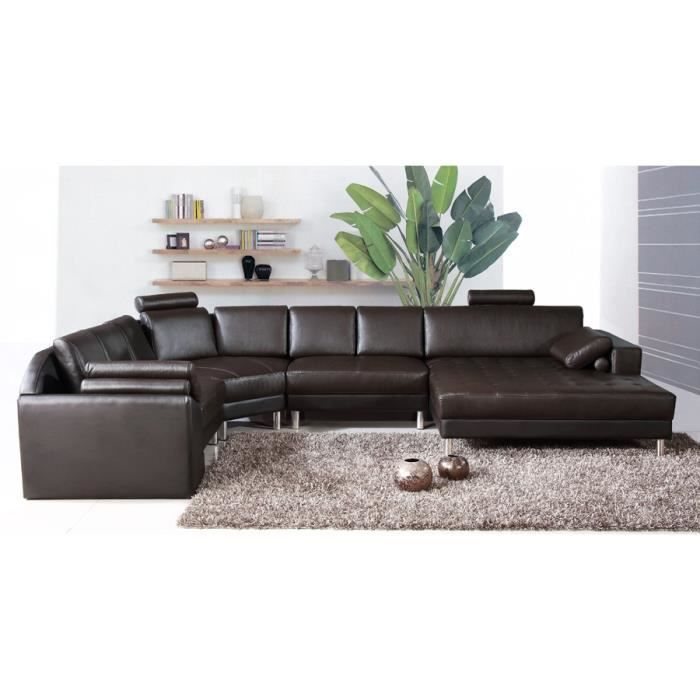 canap d 39 angle panoramique en cuir marron houston achat vente canap sofa divan cdiscount. Black Bedroom Furniture Sets. Home Design Ideas