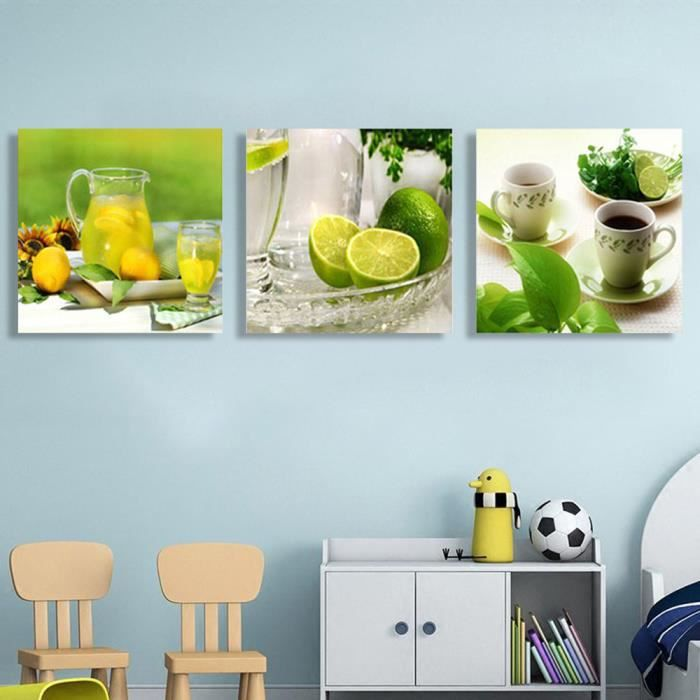 no frame tableau toile peinture 3 panneau fruits cuisine. Black Bedroom Furniture Sets. Home Design Ideas