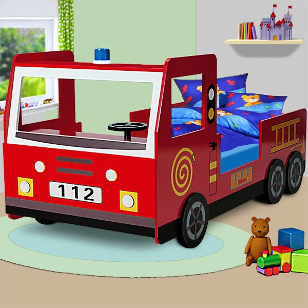 lit enfant design camion pompier avec sommier achat. Black Bedroom Furniture Sets. Home Design Ideas
