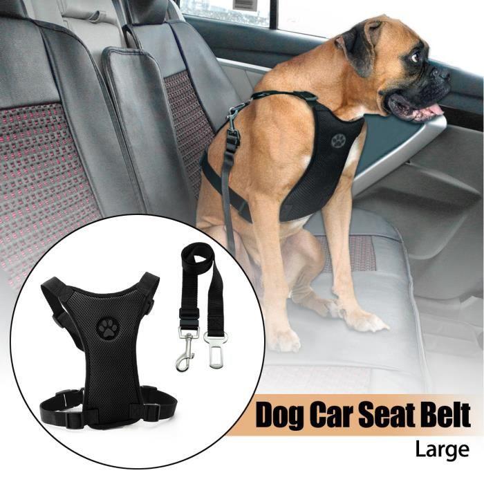 Ceinture de s/écurit/é de voiture de chat de chien de compagnie harnais r/églable ceinture de s/écurit/é laisse de plomb pour les petits chiens moyens Clip de voyage fournitures pour animaux de compagnie