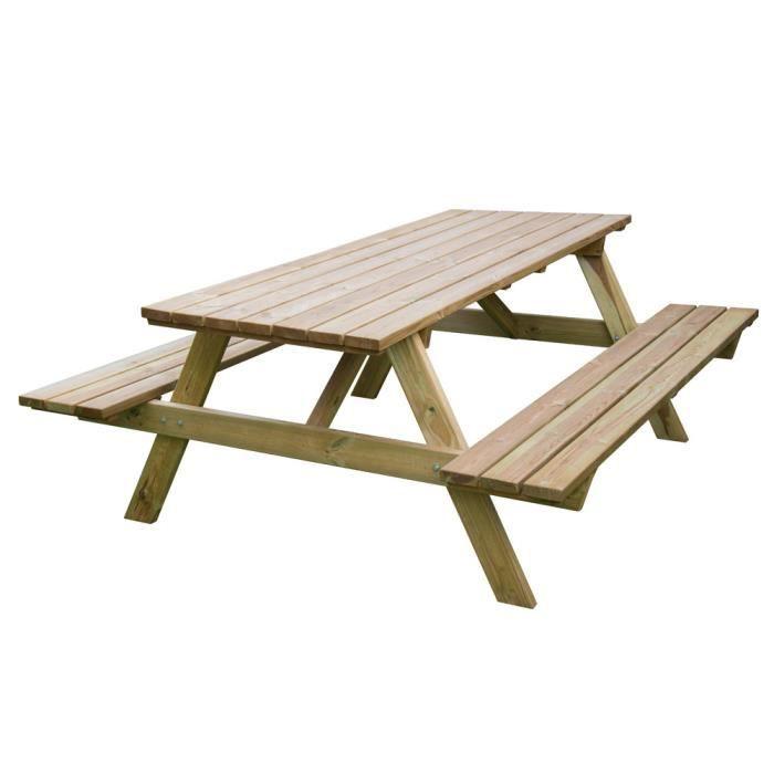 Table de pique-nique en bois imprégné avec bancs EG51785