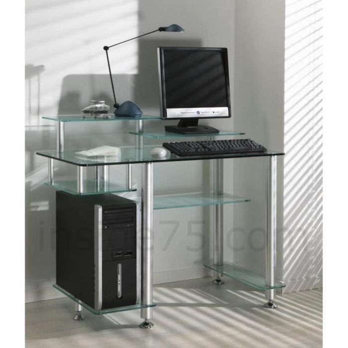 bureau design en verre transparent high desk achat vente bureau bureau design en verre. Black Bedroom Furniture Sets. Home Design Ideas