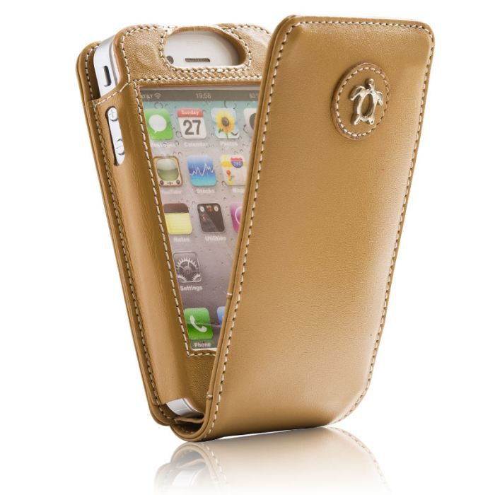 Housse cuir iphone 4 iphone 4s camel avec vol achat for Housse iphone 4 cuir