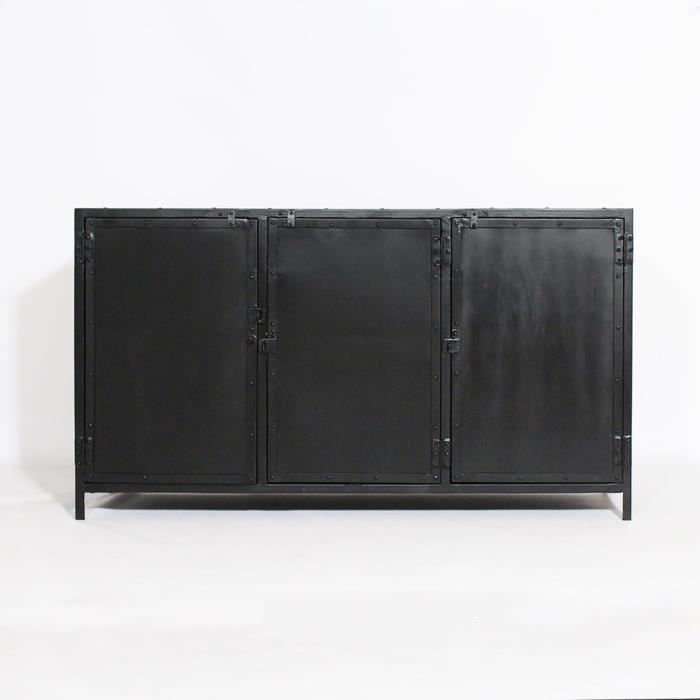 buffet metal industriel metal noir achat vente buffet bahut buffet metal industriel m. Black Bedroom Furniture Sets. Home Design Ideas