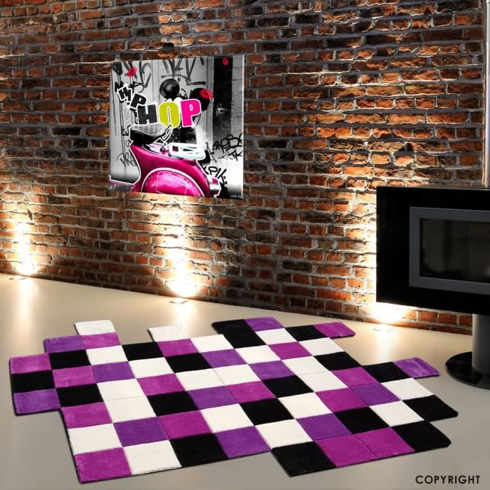 tapis design mauve 160 x 230 cm achat vente tapis cdiscount. Black Bedroom Furniture Sets. Home Design Ideas