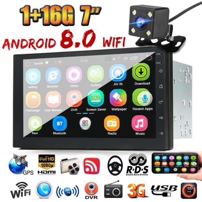Cam/éra de Recul Autoradio Android 9.0 Universelle 2 Din GPS /Écran Tactile 7 HD 2.5D Navigation de Voiture supporte Bluetooth Main Libre WiFi Miroir Lien Radio FM Double USB Commande au Volant