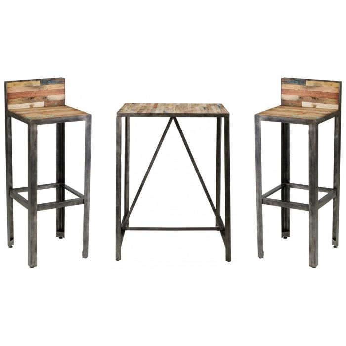 Ensemble bar besi 1 table 2 tabourets achat vente for Achat table bar