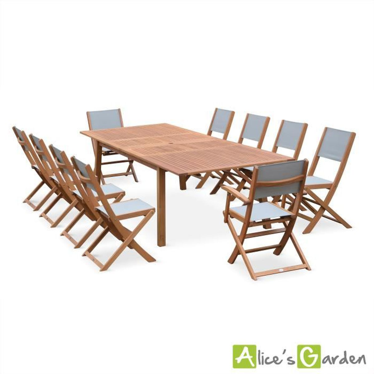 Salon de jardin en bois Almeria, table 200-250-300cm avec 2 ...