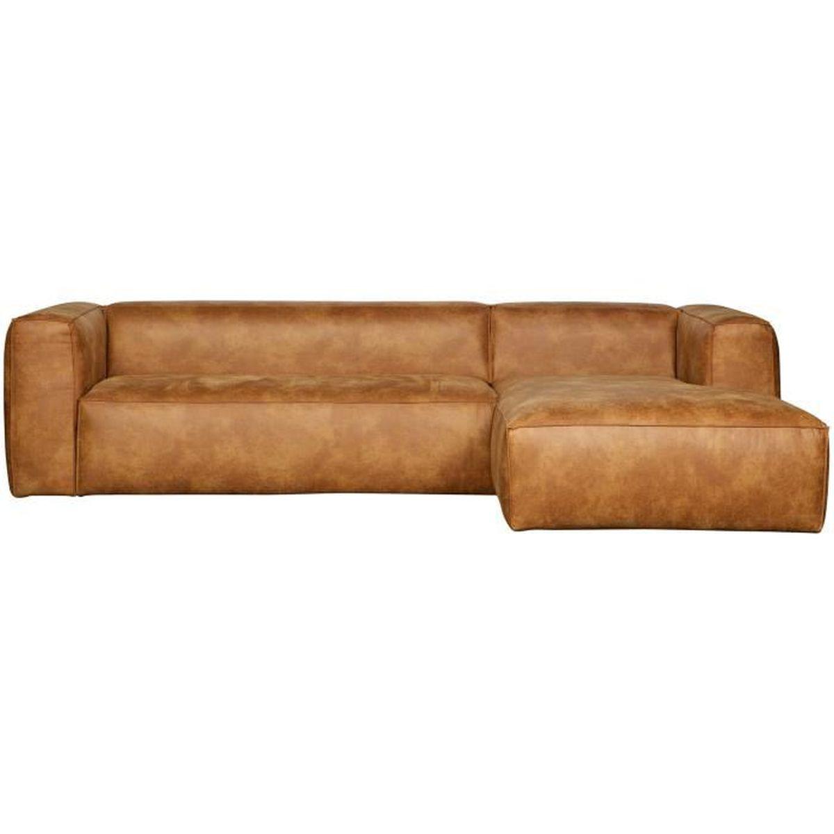 H Et H Canapé canapé d'angle droit en cuir et polyester coloris cognac