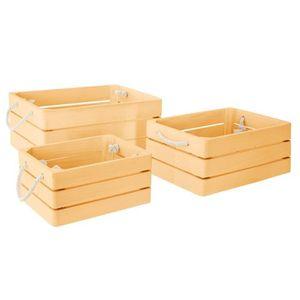 PETIT MEUBLE RANGEMENT  Lot de 3 cagettes en bois Dream jaune Autres Jaune