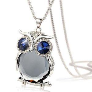 SAUTOIR ET COLLIER Femmes Owl Pendentif diamant chandail chaîne de bi