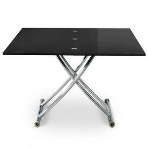 TABLE BASSE Table basse relevable Philadelphia Noir laqué